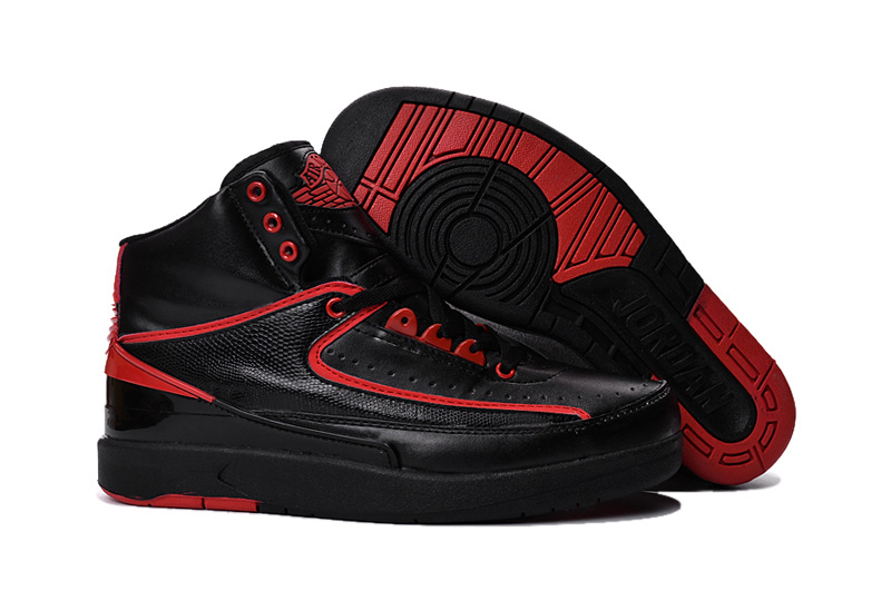 New Air Jordan 2 Black Red Shoes On Sale